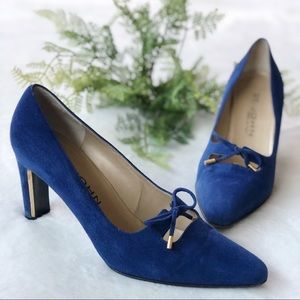 St. John Blue Suede And Gold Heels